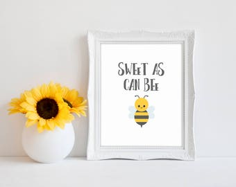 "Sweet As Can Bee 8""x10"" Bee Baby Shower Decorations 