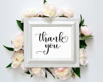 "Thank You 8""x10"" Printable Sign || Wedding Printables, Signs || Thank You Printable Sign || Wedding Calligraphy Signs (DIGITAL PRODUCT)"
