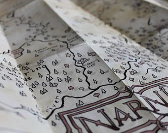 Chronicles of Narnia Map, Aslan's Map hand drawn & distressed fantasy realm world