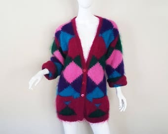 Vintage 80s Mohair Cardigan Sweater / Jewel Tone Harlequin Pattern / Oversized 80s Sweater / Size S - XL