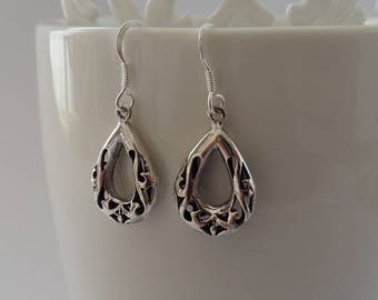 Sterling Silver Earrings with Oriental Look Ramona, Oriental Earrings, Dangle Earrings, Silver Jewelry, Gift Idea, Gift for Her