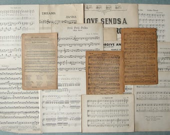 Vintage Music Score Paper Pages Scrap Lot Assortment Sheet Music & Songs from Books (16+ Pages)