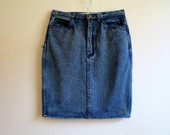 Vintage Blue Skirts Denim Skirts Pencil Skirts Denim Midi Skirts High Waisted Skirts Medium Size