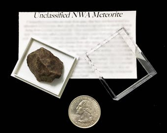 Genuine Northwest African Meteorite with Display Case! Natural Rocky Meteorite