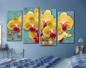 Orchid wall Art, Art Print on Canvas,Extra Large Wall Art , Canvas Art, Home Art, Living Room Flower Picture, 3 piece wall art