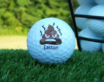Emoji Poop Face Golf Ball For Weddings / Birthday / Special Occasion Personalized Custom Gift Set of 3, FAST SHIPPING!!