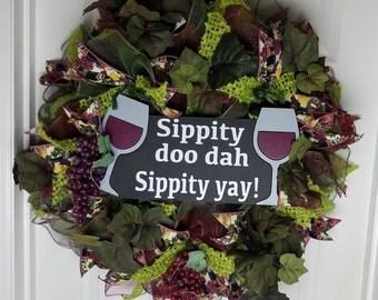 Deco  Mesh Wine Wreath, Everyday Wreath, Front Door Decor