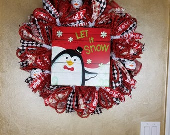 Christmas/Winter Penguin Wreath,Holiday Wreath, Christmas Wreath, Holiday Decor.ChristmasDecor,Seasonal Decor, Wall Decor,  Front Door Decor