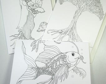 Coloring cards Koi, Tree of Life, Mushrooms, whimsical card designs set of three