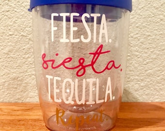 Fiesta Siesta Tequila Repeat Stemless Wine Tumbler Bachelorette Party Weekend Cup