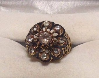 Vintage Goldtone and Rhinestone Statement Ring