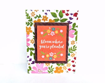 garden card, garden themed card, nature card, encouragement card, friendship card, handmade greeting cards, just because card, note cards