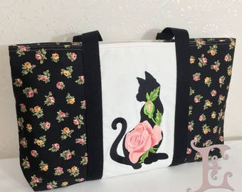 Lady Cat Embroidered Bag - Hand Made in Japan