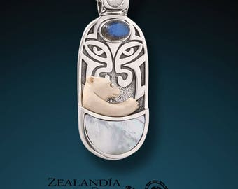 Totem Bear - Carved Bear Pendant with Labradorite and Mother of Pearl