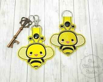 Ready To Ship! Bee Keychain - Key Fob - Bumble Bee