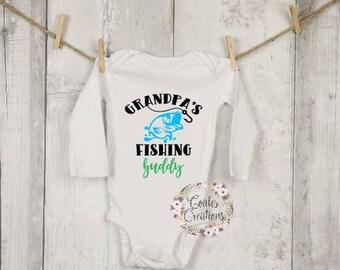 Grandpa's Fishing Buddy onesie//baby fishing//Gerber onesie//unique