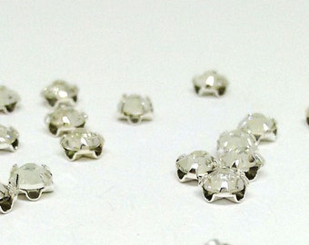 4mm Crystal Clear Rose Montees, Swarovski Crystal and Silver Plated Pewter, Flat Back, SS16, Wirework Bead, Loose Bead, For Sewing,YC8172