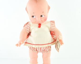 1967 Vintage Cameo Kewpie Doll Cupid Cupie Rose O'Neill Tag Red White Retro Kitsch Collectable Squeaky Rubber
