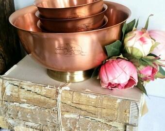Copper Bowl Set/Paul Revere Shoppe/Gregorian solid copper/Vintage copper bowls