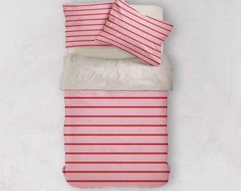 Striped Bedding - Pink Bedding, Pink Duvet Cover, Preppy Duvet Cover, Queen Duvet Cover, King Duvet Cover, Twin Duvet Cover, Preppy Bedding