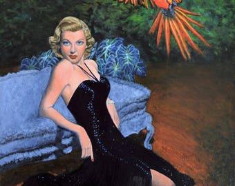 Original Portrait Landscape Painting on Canvas Acrylic pet Art macaw jungle retro Jane Ianniello Lana Turner film noir surreal noirscapes