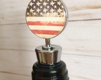 Patriotic Wine Bottle Stopper- Aviation Barware- Jet Barware- Aviation Gift- Pilot Gift- Military Barware- Military Spouse Gift