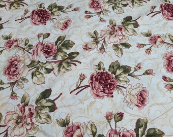 Red Flowers on Beige Cotton Fabric
