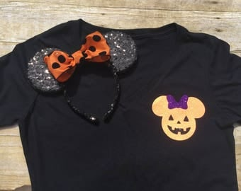 Disney Halloween Pumpkin Bow Mouse Shirt, Tank, Baseball Tee Disney