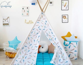 Kids Teepee with blue feathers, Tipi with poles, Boys tepee, play tent, Childrens wigwam, playtent, blue kids room decor, teepee for boys,