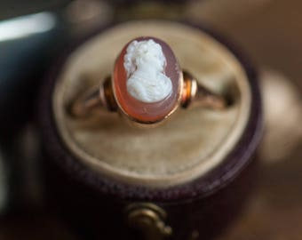 Late 1800's Hardstone Cameo Ring, Antique Cameo Ring, Antique Sardonyx Hardstone Cameo Ring, Hardstone Cameo Jewelry, Antique Cameo Ring