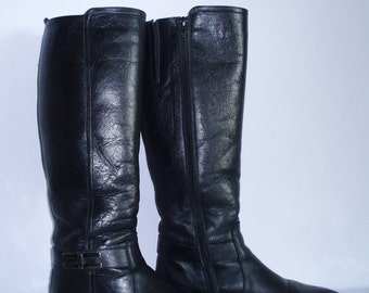 Women's  boots / Winter boots / Boots with warm lining /Black leather boots /Size:38