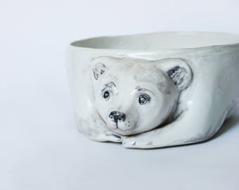 polar bear, ceramic bowl, white bowl, toy storage, children room, fruit bowl, planter, teddy bear, organizer,