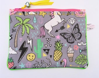 Zippered pouch, small size, pop & Green