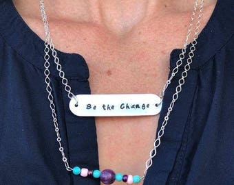 two layer necklace, double layered necklace, layered necklace set, hand stamped necklace, bar necklace, personalized bar necklace, custom