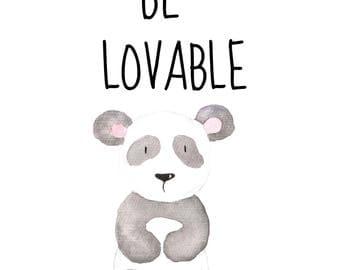 Be Lovable 8 x 10 nursery printable poster, downloadable, art decor