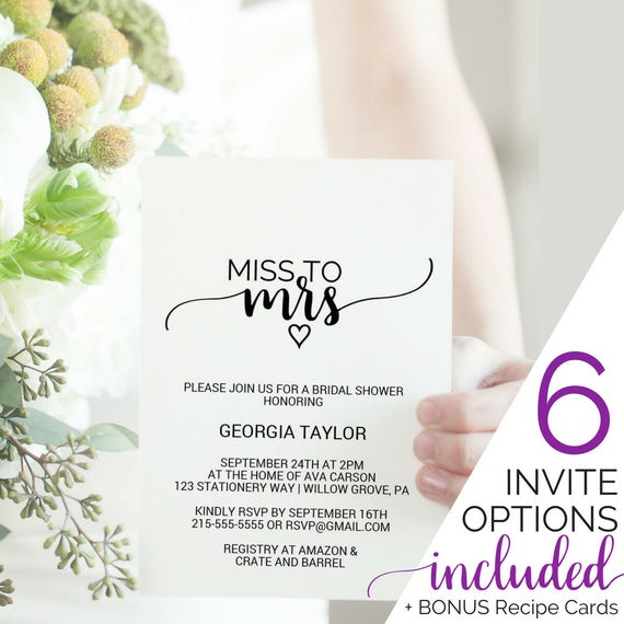 Printable Bridal Shower Invitation Template Miss to Mrs Tea Party