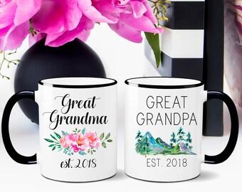 Great Grandparent Mugs, Pregnancy Reveal To Grandparents, Pregnancy Announcement, New Grandparents, Great Grandma, Great Grandpa, Mug Set
