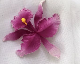 Unique Vintage Purple Orchid Brooch