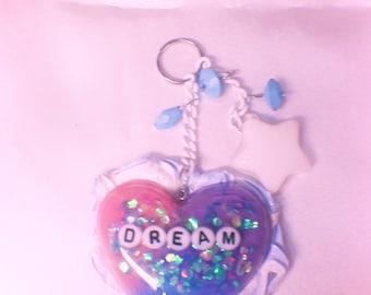 Dream Tri-Color Heart Resin Key chain