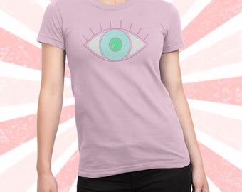 EYE Shirt - vaporwave - boho - Illuminati - all seeing eye -hipster t-shirt - cute - funny - pink geometric Adult Unisex Men's and Women's