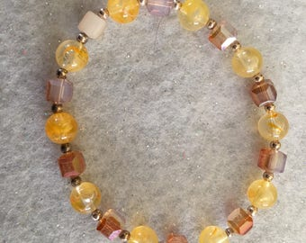 Crystal and Glass stretch bracelet