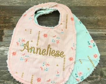 Personalized Baby Bib - Chenille Baby Girl Bib- Vintage Mint and Pink Floral Metallic- Monogrammed Baby