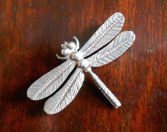 Vintage Finland Silver Dragonfly Brooch, Modernist Scandinavian Silver by Kultaseppa Salovaara Ky