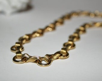 Necklace, neck jewellery, gold chain, handmade, 18 carat gold plated, link necklace, unique, 44 cm, necklace,