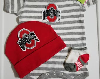 ohio state baby outfit-ohio state baby shower gift-ohio state baby take home outfit-ohio state newborn-baby ohio state/newborn ohio state