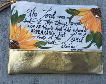 "Hand painted makeup bag ""The Lord looks at the heart"""
