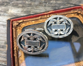 1940's Sterling Silver Hand Chased Oval Shadowbox Sterling Cuff links