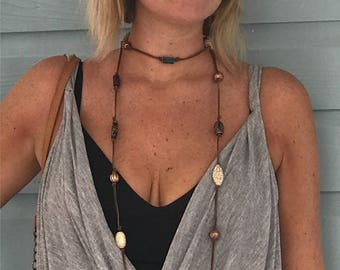 Bohemian Deerskin leather beaded necklace , can be worn several different ways.
