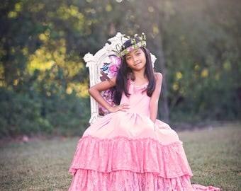 Bohemian Flower Girl Pink Lace Dress, Boho Spring Summer Maxi Dress, Junior Bridesmaid Dress, Pink Toddler Beach Dress, Photography Dress