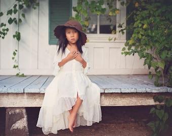 Ivory Boho Country Flower Girl Dress, Girls Hi Lo Dress, Hi Low Dress, Bohemian Junior Bridesmaid Dress, Girl Toddler Maxi Dress